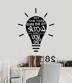 Vinyl Wall Decal Lamp Bulb Job Work Office Style Decor Quote