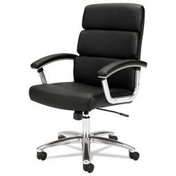 Basyx by HON VL103 Executive Mid-Back Chair - Black Leather