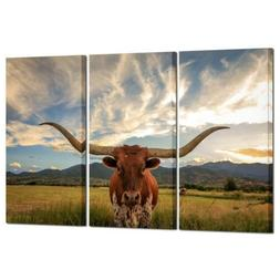 Wall Art Canvas Texas Longhorn Cow Animal Decor Home Office