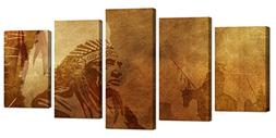 Ardemy Wall Art Canvas Painting Brown Native American Chief