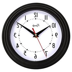 Wall Clock Home Decor Metal Glass Lens Large Numbers Round O