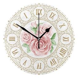 Ladninag Wall Clock Pink Roses and Curly Silent Non Ticking
