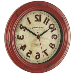 """Wall Clock Round Home Office Kitchen 11.5"""" Red Vintage Decor"""