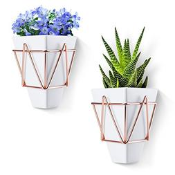 Love-KANKEI Wall and Desk Planters Vase White Ceramic and Co