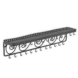 MyGift Wall Mounted Black Metal Scrollwork Design Cosmetics