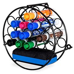 MyGift 18-Slot Wall-Mounted Round Metal Dry-Erase Marker & E