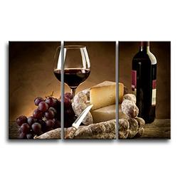 So Crazy Art 3 Piece Wall Art Painting Wine Cheese Parmesan