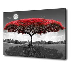 wall art red trees for living room decor forestl canvas prin