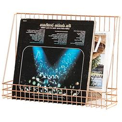 MyGift Wall-Mounted Copper Wire Magazine & Vinyl Record Disp