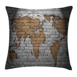 Ambesonne Wanderlust Throw Pillow Cushion Cover, World Map O