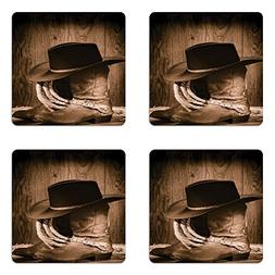 Ambesonne Western Coaster Set of Four, Wild West Themed Cowb