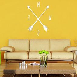BIBITIME White Arrows Compass Wall Decals Tribal Nautical Na