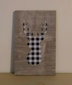 White buffalo plaid deer decorative sign home office gift
