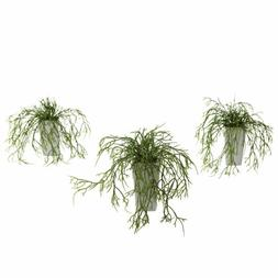 Wild Grass W/White Vase Set Of 3 Realistic Nearly Natural Ho