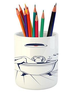 Ambesonne Wine Pencil Pen Holder, Young Beautiful Woman Rela