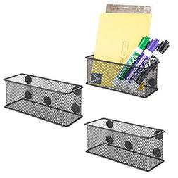 MyGift Wire Mesh Magnetic Storage Baskets, Office Supply Org
