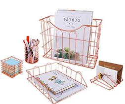 Superbpag Wire Metal 5 in 1 Desk Organizer Set - Letter Sort