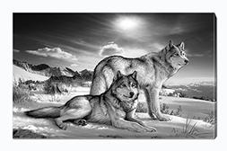 Wolf Canvas Print Wall Art Black and White Animal Painting P