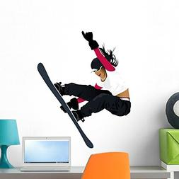 Wallmonkeys Women Snowboard Wall Decal Peel and Stick Graphi