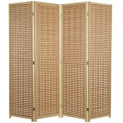 MyGift 6-Foot Wood 4-Panel Slat Room Divider with Two-Way Hi