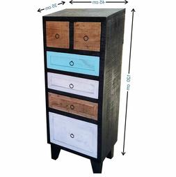 Wood Chest of 6 Drawers Antique Vintage Home Office Furnitur