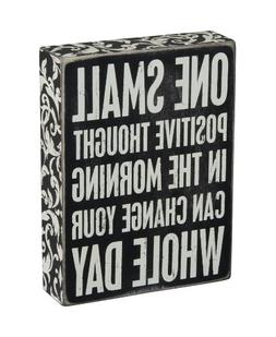 Wood Paint Quote Positive Thinking Box Sign Desk Office Deco