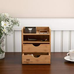 wooden bamboo desk top organizer 2 drawers
