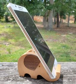 Wooden Elephant Pen Pencil Cell Phone Holder Stand Gift Home