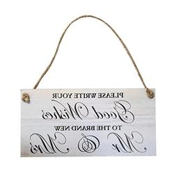 Botrong Wooden Hanging Plaque Board Wedding Scene Home Wall