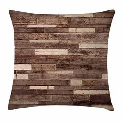 Ambesonne Wooden Throw Pillow Cushion Cover, Wall Floor Text