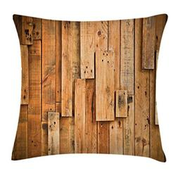 Ambesonne Wooden Throw Pillow Cushion Cover, Lodge Style Har