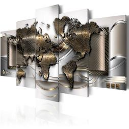 the World Map Canvas Print Abstract Metal Wall Art Painting