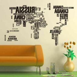 World Letter Map Vinyl Wall Sticker Home Office Decor Decals