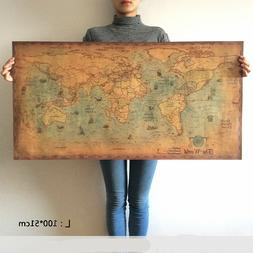 World Map Poster Vintage Wall Sticker Large Retro Print Pape
