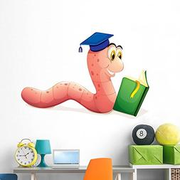Worm Reading Wearing Graduation Wall Decal by Wallmonkeys Pe