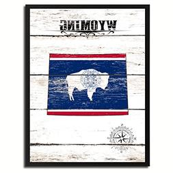 Wyoming State Vintage Flag Canvas Print Black Picture Frame
