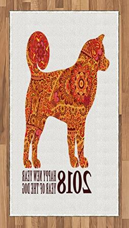 Ambesonne Year of The Dog Area Rug, Canine Design with Bloom