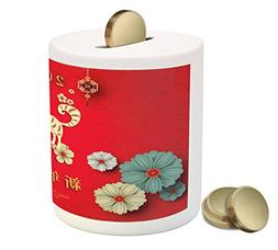 Ambesonne Year of the Dog Coin Box Bank, Floral Arrangement