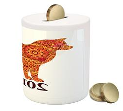 Ambesonne Year of the Dog Coin Box Bank, Canine Design with