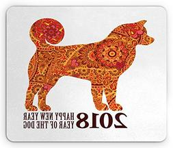 Ambesonne Year of the Dog Mouse Pad, Canine Design with Bloo