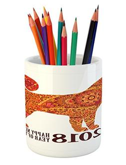 Ambesonne Year of the Dog Pencil Pen Holder, Canine Design w