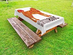 Ambesonne Year of The Dog Outdoor Tablecloth, Canine Design