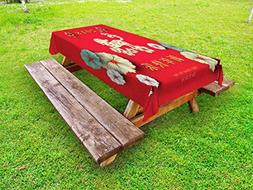 Ambesonne Year of The Dog Outdoor Tablecloth, Floral Arrange