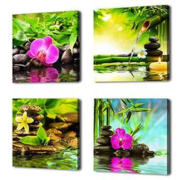 yearainn Canvas Art Zen Canvas Prints Spa Wall Decor 4 Panel