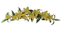 """Yellow Tiger Lily 35"""" Swag Wall Floral Arrangement Silk Flow"""