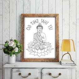 Yoga Let That Quote Buddha Canvas Wall Prints Posters  Home