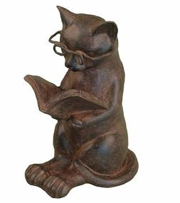 Young's Resin Cat Reading Figurine, 4.75-Inch